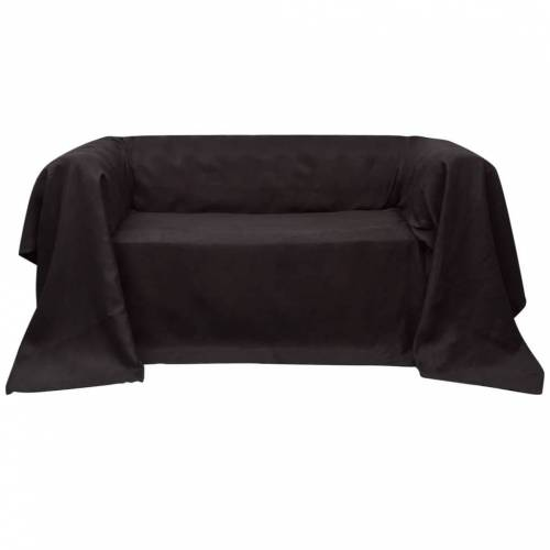 vidaXL Micro-Suede Sofaüberwurf Tagesdecke Braun 270 x 350 cm