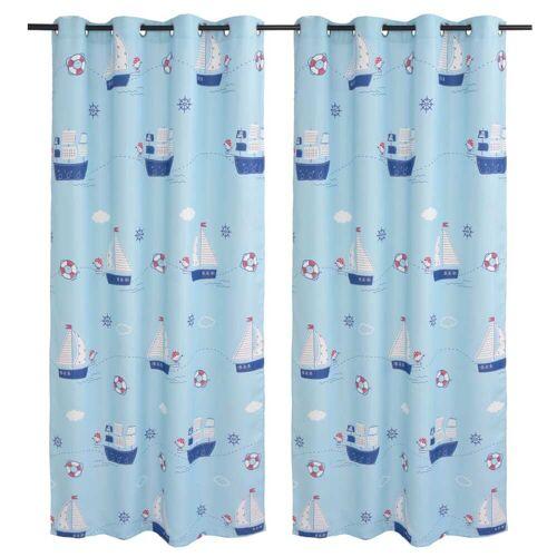 vidaXL Bedruckter Verdunkelungsvorhang für Kinder 2 Stk. 140 x 240 cm Blau