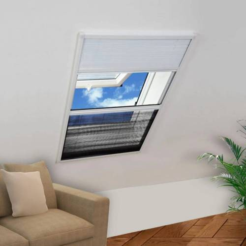 vidaXL Plisse Insektenschutzfenster mit Jalousie Aluminium 160×80 cm