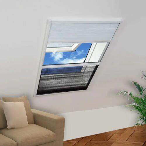 vidaXL Plisse Insektenschutzfenster mit Jalousie Aluminium 160×110 cm