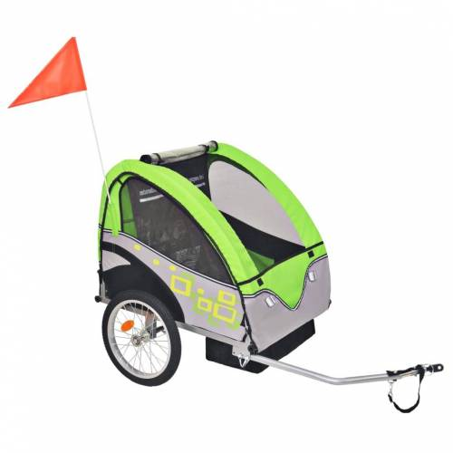 vidaXL Kinder Fahrradanhänger Grau und Grün 30 kg