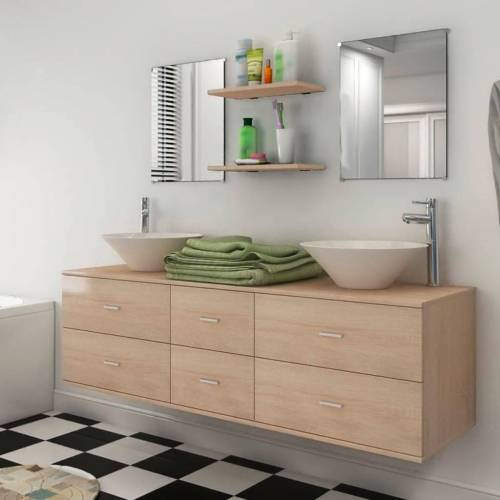 vidaXL 7-tlg. Badmöbel und Waschbecken Set Beige