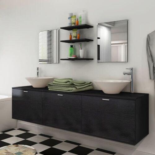 vidaXL 8-tlg. Badmöbel und Waschbecken Set Schwarz