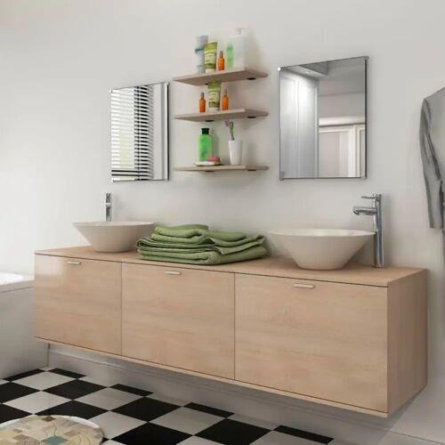 vidaXL 8-tlg. Badmöbel und Waschbecken Set Beige