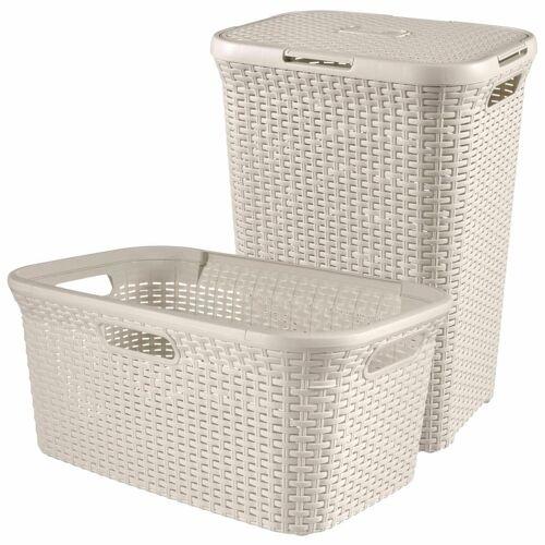Curver Style Wäschekorb und Wäschewanne Weiß 105 L 240657