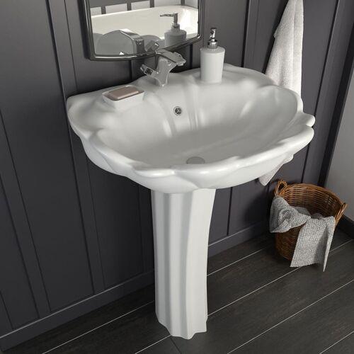 vidaXL Freistehendes Waschbecken mit Säule Keramik Weiß 580x510x200 mm