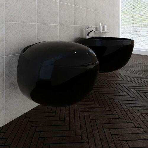 vidaXL Wand-Hänge WC Toilette+Hänge Bidet+WC-Sitz