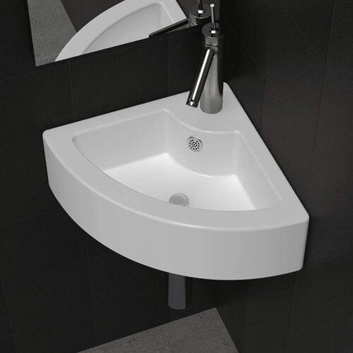vidaXL Waschbecken mit Überlauf 45 x 32 x 12,5 cm Weiß