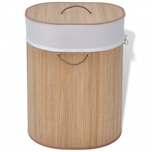vidaXL Bambus-Wäschekorb Oval Natur