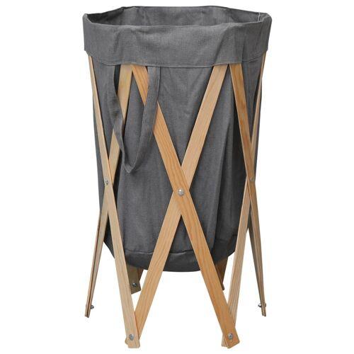 vidaXL Faltbarer Wäschekorb Grau Holz und Stoff