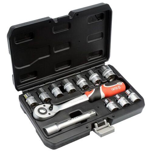 YATO 12-tlg. Steckschlüssel-Set mit Ratsche YT-38671