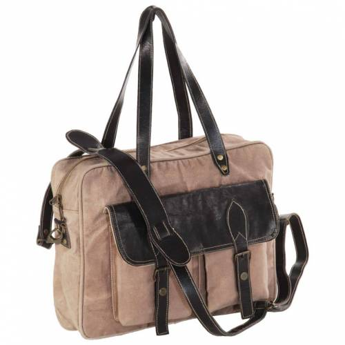 vidaXL Handtasche Braun 40 x 53 cm Segeltuch und Echtleder