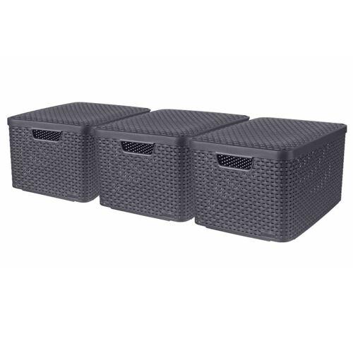 Curver Aufbewahrungsboxen mit Deckel Style 3 Stk. L Anthrazit