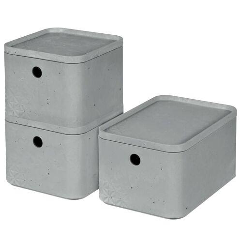 Curver Beton Aufbewahrungsbox-Set 3 Stk. mit Deckel Gr. S+M Hellgrau