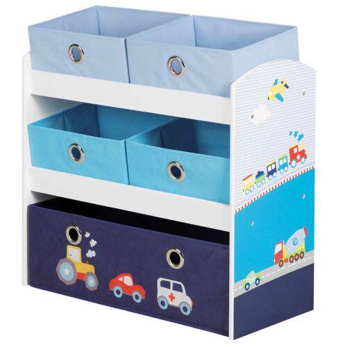 roba Spielzeug-Aufbewahrungseinheit Racer Blau 63,5×30×60 cm MDF