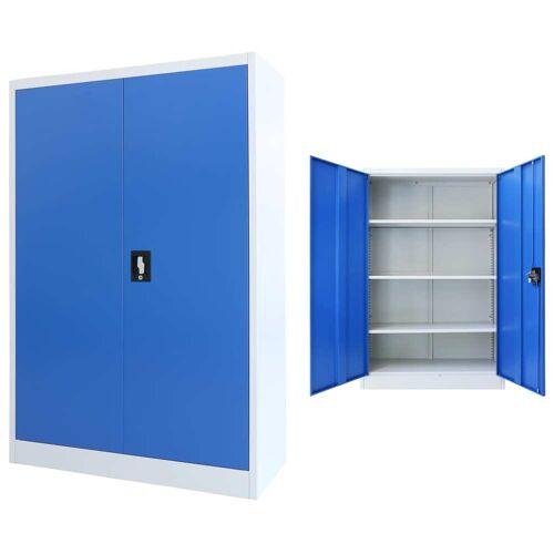 vidaXL Büroschrank Metall 90 x 40 x 140 cm Grau und Blau