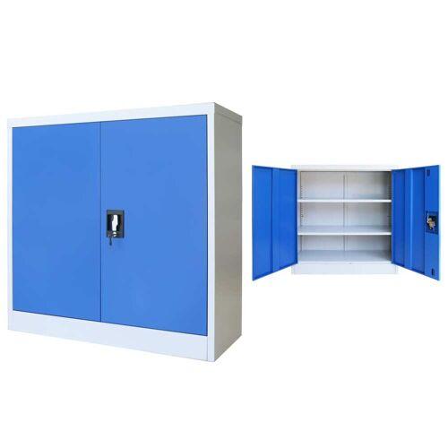vidaXL Büroschrank Metall 90 x 40 x 90 cm Grau und Blau