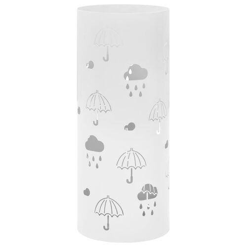 vidaXL Regenschirmständer Regenschirm-Motiv Stahl Weiß