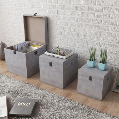 vidaXL Aufbewahrungsbox Beton 3 Stk. Quadratisch Grau MDF