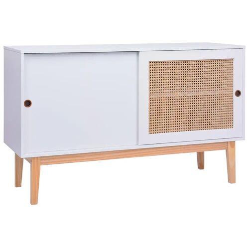 vidaXL Sideboard Weiß 130x40x80 cm MDF und Rattan