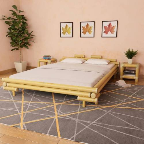 vidaXL Bettgestell Bambus 160×200 cm