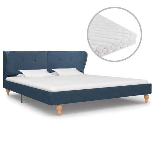 vidaXL Bett mit Matratze Blau Stoff 160 x 200 cm