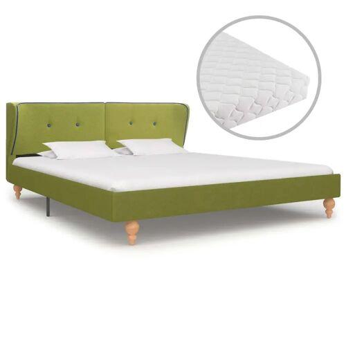 vidaXL Bett mit Matratze Grün Stoff 180 x 200 cm