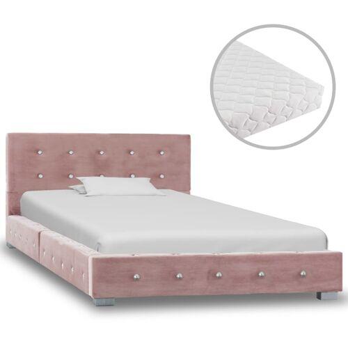vidaXL Bett mit Matratze Rosa Samt 90x200 cm