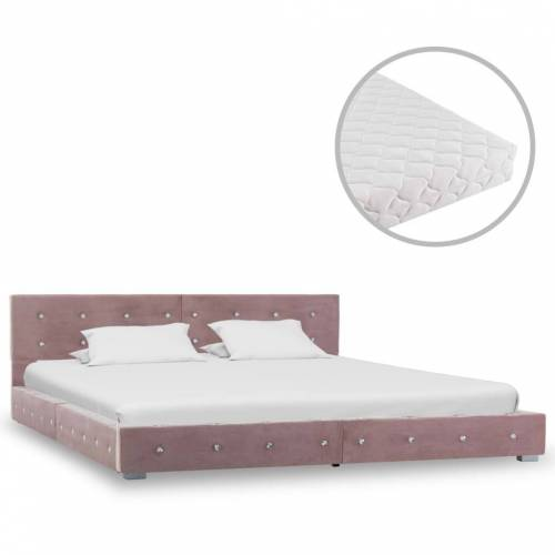 vidaXL Bett mit Matratze Rosa Samt 160×200 cm
