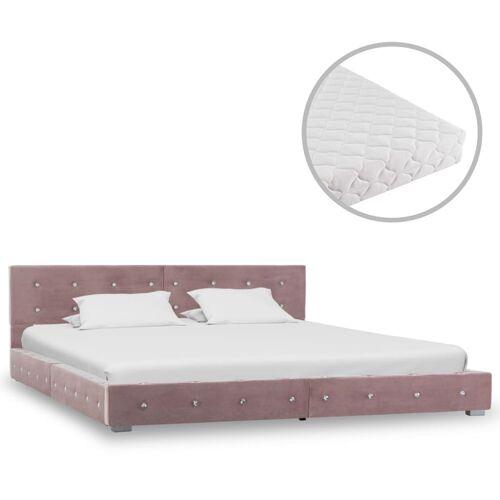 vidaXL Bett mit Matratze Rosa Samt 180 x 200 cm