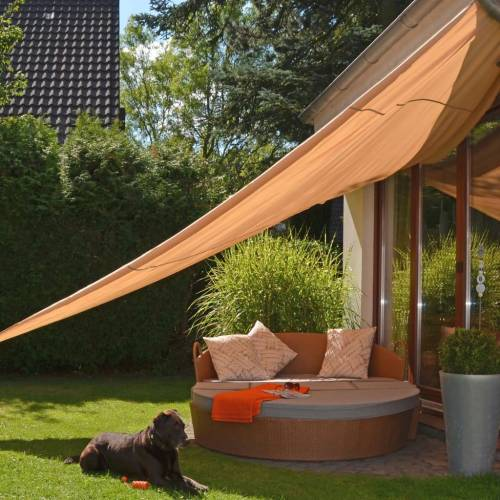 HI Sonnenschutzsegel Dreieckig 5×5×5 m Beige