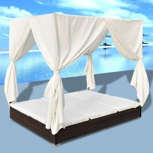 vidaXL Outdoor-Loungebett mit Vorhang Poly Rattan Braun