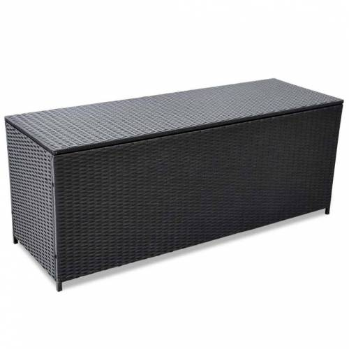 vidaXL Garden-Auflagenbox Schwarz 150×50×60 cm Poly Rattan