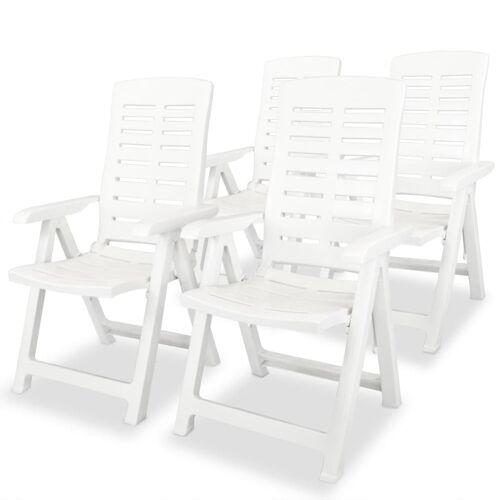 vidaXL Garten-Liegestühle 4 Stk. Kunststoff Weiß