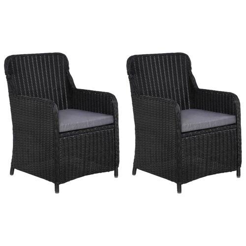 vidaXL Gartenstühle mit Polster 2 Stk. Poly Rattan Schwarz