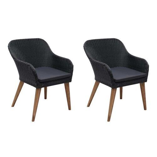 vidaXL Gartenstühle mit Polstern 2 Stk. Poly Rattan Schwarz