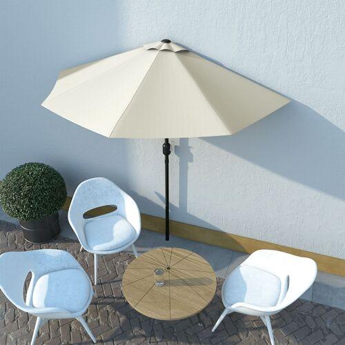 vidaXL Balkon-Sonnenschirm mit Alu-Mast Sandfarben 270×135 cm Halbrund