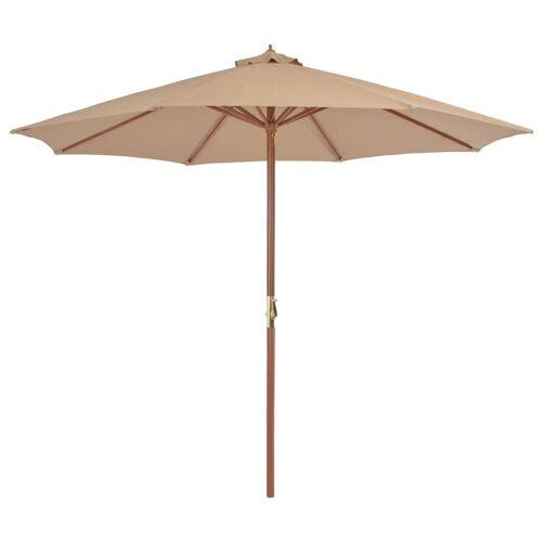 vidaXL Sonnenschirm mit Holz-Mast 300 cm Taupe