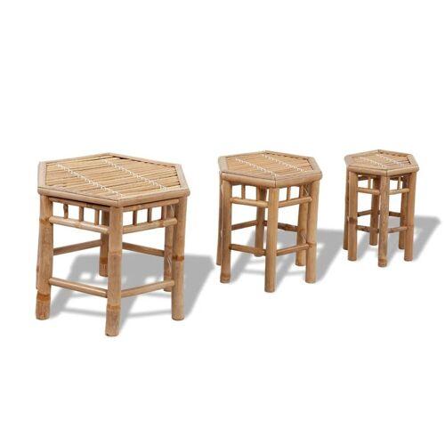 vidaXL Bambus-Stuhl-Set 3-teilig