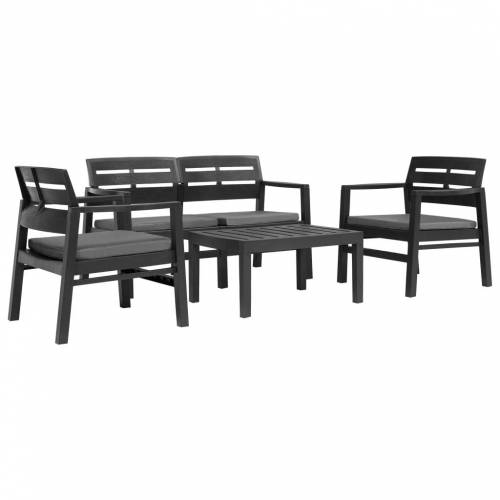 vidaXL 4-teiliges Gartenmöbel-Set Anthrazit Kunststoff