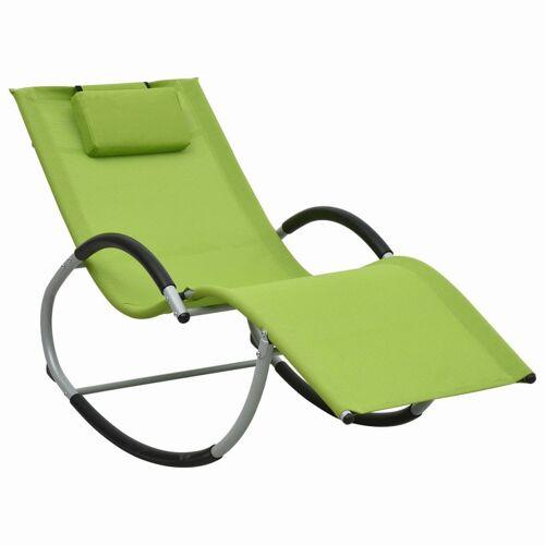 vidaXL Sonnenliege mit Auflage Grün Textilene