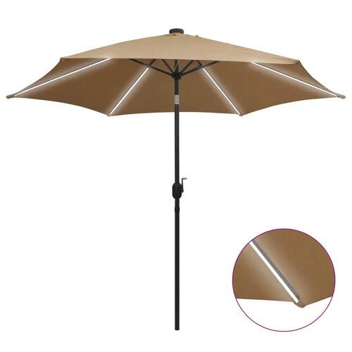 vidaXL Sonnenschirm mit LED-Leuchten & Aluminium-Mast 300 cm Taupe