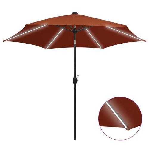 vidaXL Sonnenschirm mit LED-Leuchten Alu-Mast 300 cm Terracotta-Rot