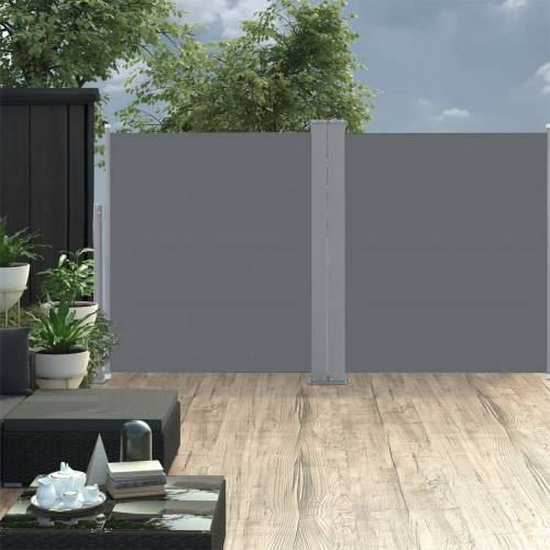 vidaXL Ausziehbare Seitenmarkise Doppelt 170 x 600 cm Anthrazit