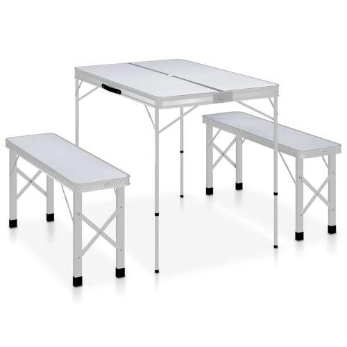 vidaXL Klappbarer Campingtisch mit 2 Sitzbänken Aluminium Weiß