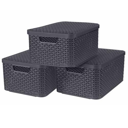 Curver Aufbewahrungsboxen mit Deckel Style 3 Stk. Größe M Anthrazit