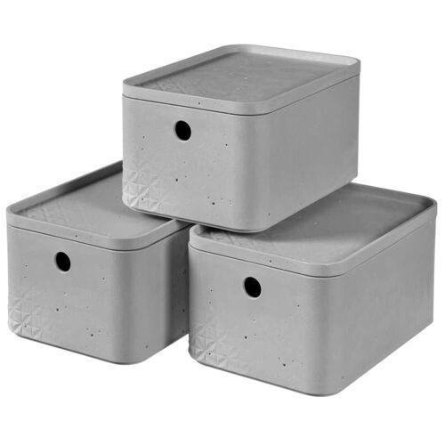 Curver Beton Aufbewahrungsbox-Set 3 Stk. mit Deckel Gr. S Hellgrau