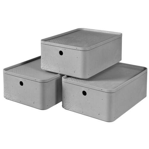 Curver Beton Aufbewahrungsbox-Set 3 Stk. mit Deckel Gr. M Hellgrau