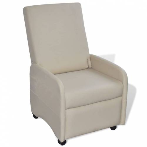 vidaXL Ausklappbarer Sessel Creme Kunstleder