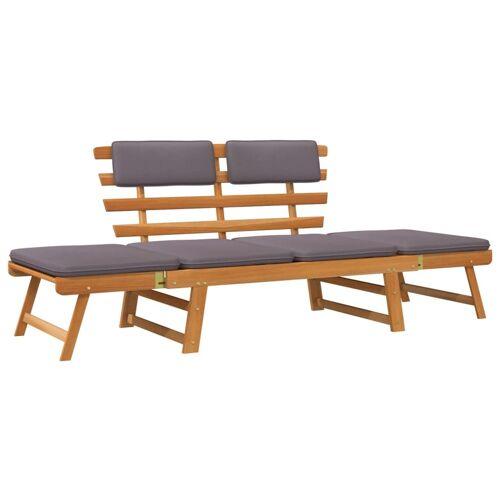 vidaXL 2-in-1 Gartenliege mit Auflage 190 cm Massivholz Akazie